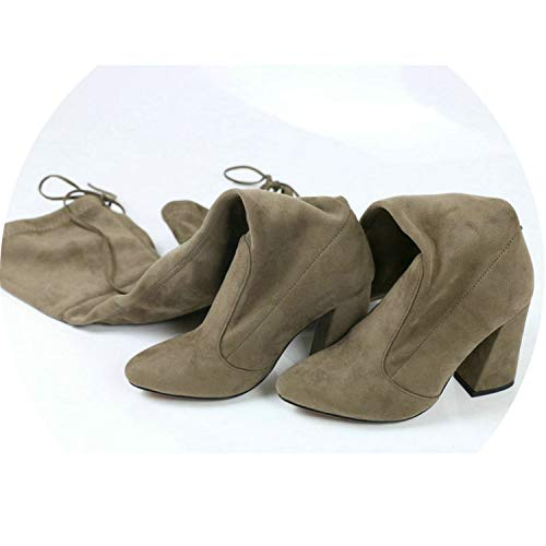 2018 New Flock Leather Women Over The Knee Boots Lace Up Sexy High Heels Shoes Winter Women Boots,Khaki,6
