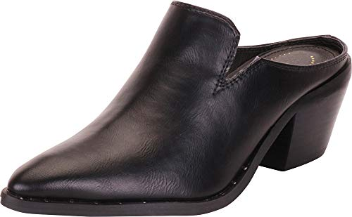 Cambridge Select Women's Western Pointed Toe Slip-On Chunky Block Mid Heel Mule,8 B(M) US,Black - Mule Cowboy