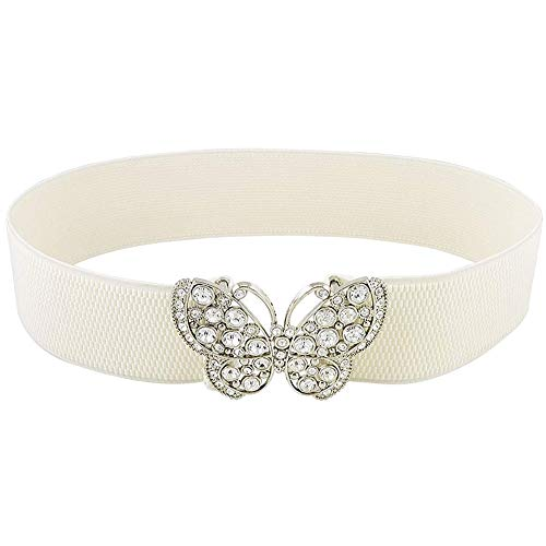 Rrunzfon Women Rhinestones Accent Butterfly Hook Buckle Elastic Cinch Waist Belt Fashion Skinny Belt (White)