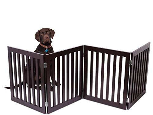 Internets Best Traditional Pet Gate | 4 Panel | 24 Inch Step Over Fence | Free Standing Folding Z Shape Indoor Doorway Hall Stairs Dog Puppy Gate | Fully Assembled | Espresso | MDF