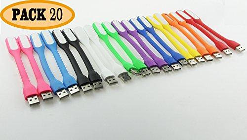 [해외]ECAREE ULF0200200 USB 휴대용 램프 세트, USB 밤 빛, LED 에너지 절약 독서 용 램프, 노트북 용 LED - 20 개 팩, 다채로운/ECAREE ULF0200200 USB LED Portable