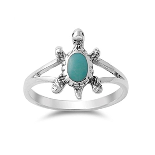 (Oval Simulated Turquoise Split Shank Turtle Ring 925 Sterling Silver Size 6 )
