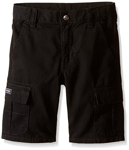 Adjustable Waist Cargo Shorts - Wrangler Big Boys' Classic Cargo Shorts, Black, 14