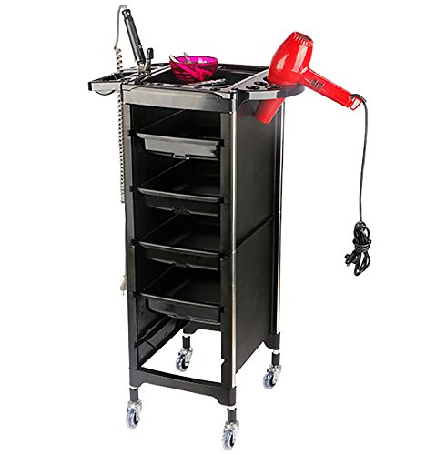 5 Tier Salon Rolling Storage Hairdressers Trolley Spa Hair Stylist Beauty Tray Barber Cart 4 Drawers Roller Black by SalonHair