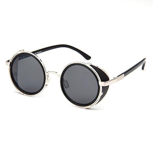 Premium Unisex Men Women Steampunk Vintage Style 50s Round Silver Frame Black Mirror Lens Glasses Blinder Sunglasses w/ Matchable Eyeglasses - Glasses Styles Mens Face Round