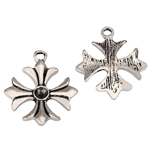 20 x Iron Cross Charms 21mm Antique Silver Tone for Bracelets Necklaces Earrings #mcz971