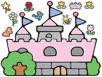 Hello Kitty Princess Castle Self Stick Wall Accent Decal Set