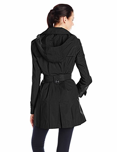 Via Spiga Women's Single-Breasted Belted Trench Coat with Hood, Black, Small