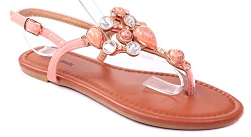 JJF Shoes Berry Coral Jewel Gem Rhinestone Crystal Studded Slingback Thong Flat - Coral Gem Black