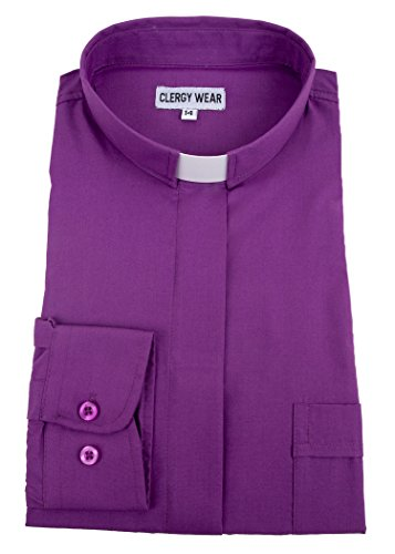 Women's Long Sleeve Standard Cuff Tab Collar Clergy Shirt (8, Church Purple) by Mercy Robes
