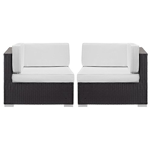 Rattan Sectional (Modway Convene Corner Sectional Outdoor Patio (Set of 2), Espresso White)