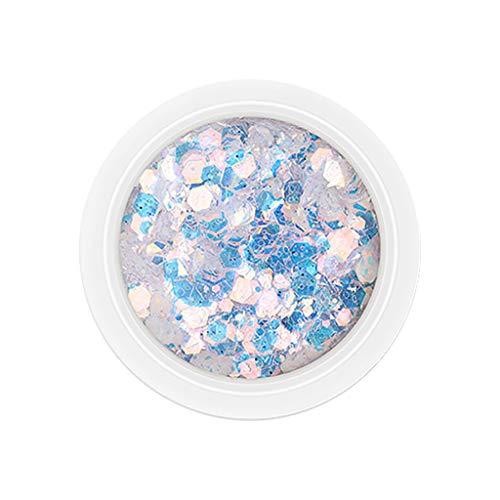 utda.sh-fs women's nails Nail Art Powder Mirror Mix Glitter Sequins Holographic Laser Rainbow Neon Pearl Pigment Eye Makeup Gradient Flash Jew Manicure Glitter Dust (A) -