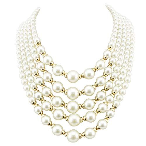(Firstmeet FIRSTMET Multi-Layer Handmade Pearl Bib Necklace for Women (XL-1020))