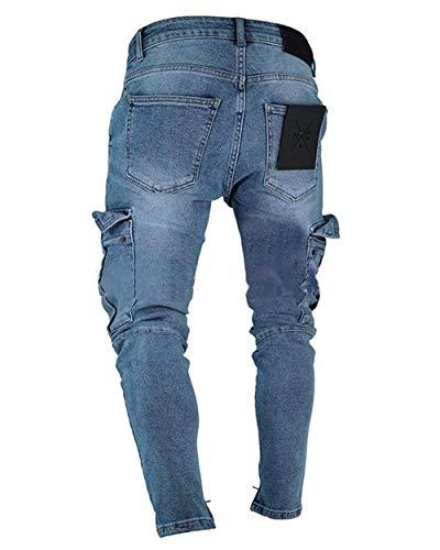 Cargo Slim Tasche Skinny Taglie Dunkelblau Biker Denim Comode Pantaloni Uomo Casual Fit Jeans Con Abiti In Stretch 4qdTTwgC