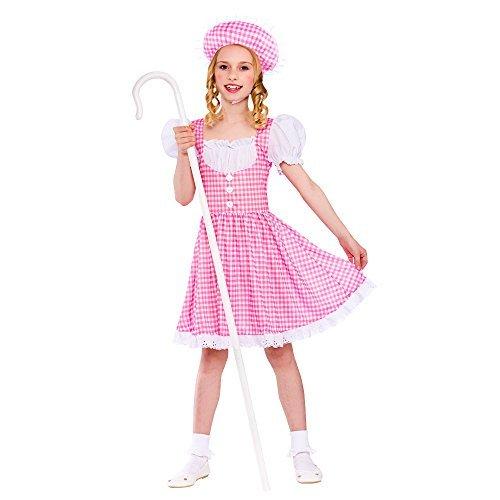 Bo Peep Sheep Costume ((L) (8-10) Girls Little Bo Peep Costume for Fairytale Sheep Hearder Fancy Dress Outfit by Partypackage Ltd)