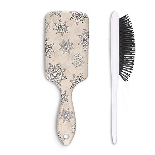 Unisex Detangle Hair Brush Snowflake Christmas pattern Boar Bristle Paddle Hairbrush for Wet, Dry, Thick, Thin,Curly hair