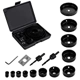 Hole Saw Kit, EONLION 16 Pieces 3/4 inches-5 inches Set in Case with Mandrels, Super Sharp Saw blade, Install Plate and Hex Key for Sawing Holes in Normal Wood, Plywood, Drywall, PVC and Plastic Plate