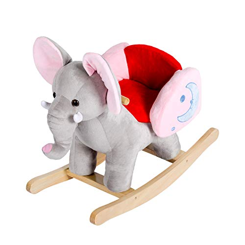 Kinbor Rocking Horse Plush Baby Kids Stuffed Animal Rocker Toy Wooden Rocking Horse Elephant Rocker Children's Day Birthday Gift w/32 Nursery Rhymes