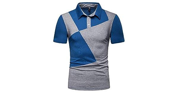 Camisa Hombre Camisa de Solapa de Alto Grado Ocasional de Costura de Dos Colores de los Hombres de Moda con el cortocircuitocamiseta Camisa Negra Polos Hombre Camisa Rayas Hombre Crop Top Jodier: