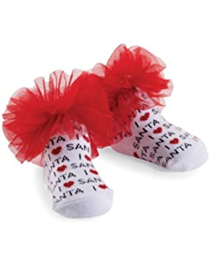 Baby-Girls Newborn I Love Santa Socks