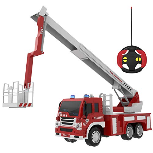 Fire Truck Toys, Remote Control Fire Truck RC Rescue Fire Fighting Firetrucks with Lights & Sounds (Batteries Included), Truck Toys Gifts for Boys, Girls, Kids ()
