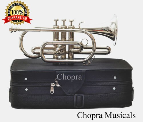 Cornet B Flat Nickel Plated With M/P & Bag Free Chopra Musicals 1002