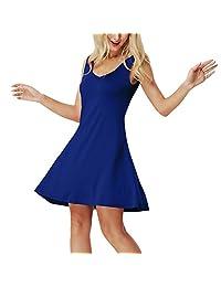 iBaste Women's Casual Loose Sundress Sleeveless Summer Plus Size Swing Dresses