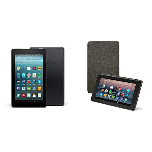 Fire 7 Tablet (8 GB, Black, With Special Offers) + Amazon Standing Case (Charcoal Black)