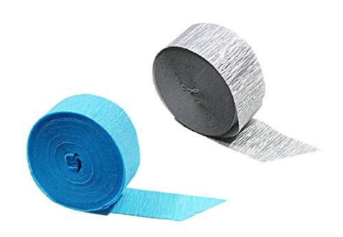 Turquoise Silver Metallic Crepe Paper Streamers, 290 Feet To