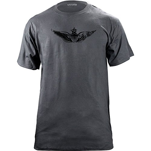 USAMM Vintage Senior Army Aviator Badge Subdued Veteran T-Shirt X-Large, Grey
