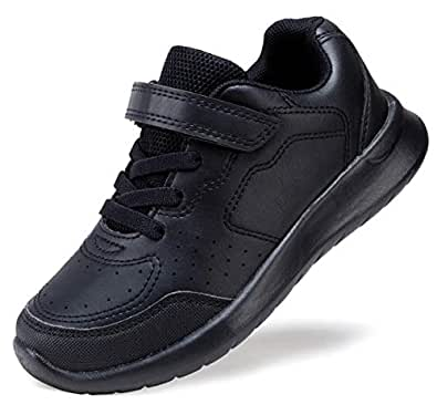 COODO Kids Boys Girls Shoes Black White School Uniform Sneakers Black Size: 1 Little Kid