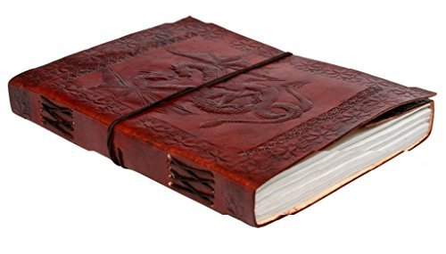 Phoenix Craft 9×7 Celtic Double Dragon Leather Journal Bound Handmade Diary Gift Book Sketchbook