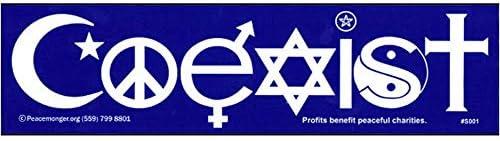 [해외]Coexist Interfaith Peace Symbol Sign Yin Yang Color Bumper Sticker / Coexist Interfaith Peace Symbol Sign Yin Yang Color Bumper Sticker