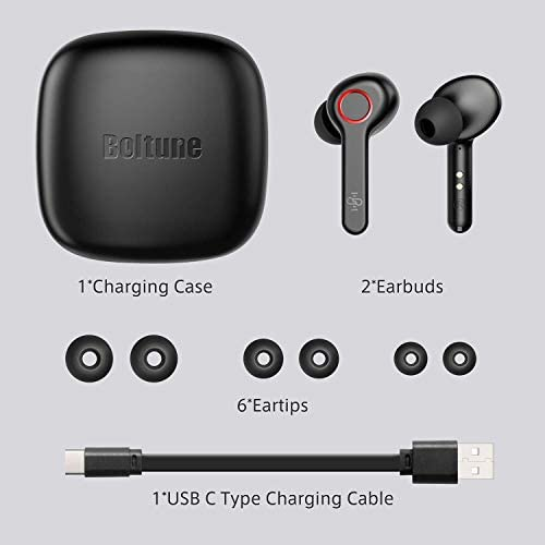 Wireless Earbuds, Boltune Bluetooth V5.0 in-Ear Stereo Wireless Headphones 40Hours Playing Time Bluetooth Earbuds Built-in Mic Single/Twin Mode, Red