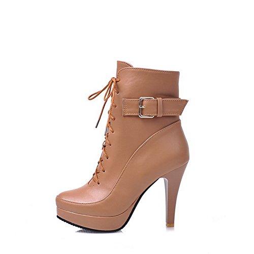 Allhqfashion Solid Dames Pu High-heels Lace-up Ronde Gesloten Teenlaars Lichtbruin