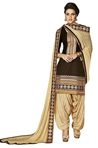 DreamAngel Women's Brown Cotton cambric Patiala Salwar Suit (Extra Large) Salwar Kameez Suit
