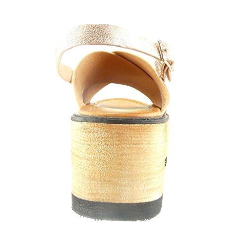Angkorly - Chaussure Mode Sandale plateforme ouverte femme lanière Talon compensé plateforme 6.5 CM - Champagne