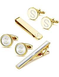 Thunaraz Cufflinks Tie Bar Clip Set Initials Alphabet Letter Cufflinks for Business Wedding with Gift Box A-Z