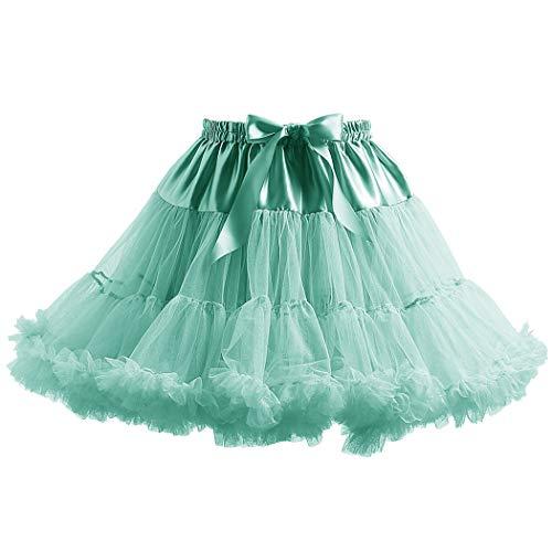 Women's Elastic Waist Chiffon Petticoat Puffy Tutu Tulle Skirt Princess Ballet Dance Plinth Green