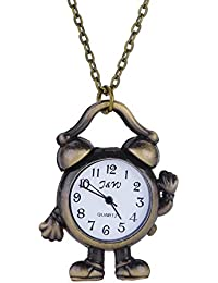 New Fashionable Vintage Robot Clock Quartz Watches Pocket Watch Key Ring Necklace Gift