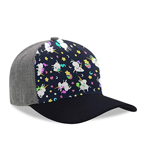 (YongColer Kids Casual Baseball Cap Colorful Rainbow Unicorns Tech Hat, Moisture Wicking Breathable Dad Hat Trucker Hat Hip-Pop Fitted Peaked Cap for Baseball Golf Fishing Hiking)