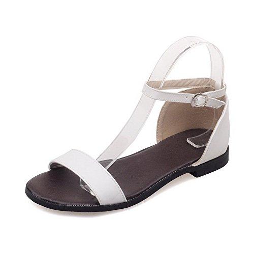 Amoonyfashion Damesschoenen Met Open Teen Pu Solide Zonder Hak-sandalen Wit