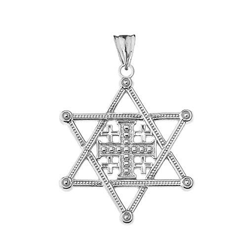 (Elegant Sterling Silver Star of David Jerusalem Cross Pendant)