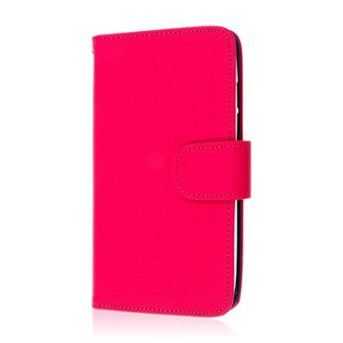 MPERO Motorola DROID Turbo Wallet Case, [Flex Flip] Cover with Card Slots and Wrist Strap (Hot Pink / Navy)