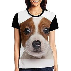 Efln Innocent Puppy Womens Short Sleeve Shirts Graphic Girls Casual Tees Black