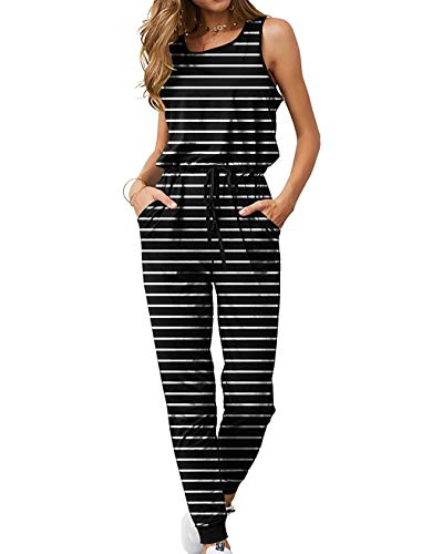 - QEESMEI Women's Jumpsuits Rompers Tank Top Drawstring Elastic Waisted Long Pants Jumpsuits