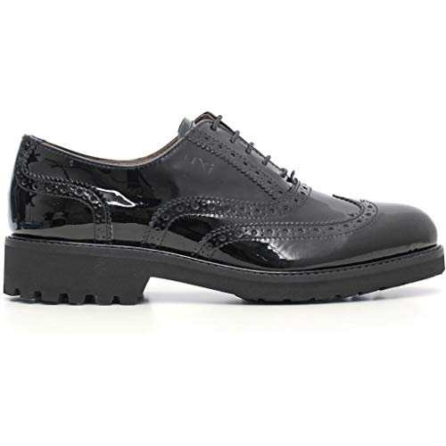 Mujer Piel Nero Negro Zapatos Para De Cordones Giardini xqqgwPpY