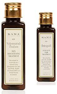 Kama Ayurveda Nalpamaradi Skin Brightening Treatment, 100ml + Bringadi Intensive Hair Treatment, 100ml (Hair & Face Combo)