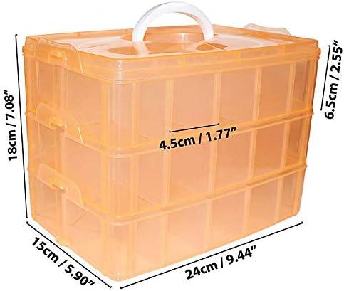 Caja Almacenamiento 3 Niveles Plástico Durazno - 18cmx24cmx15cm Almacenaje con asa Apilable Contenedor con 30 Separadores Ajustable - Organizador para Artes, Manualidades, Abalorios, Joyas, Cosméticos: Amazon.es: Hogar