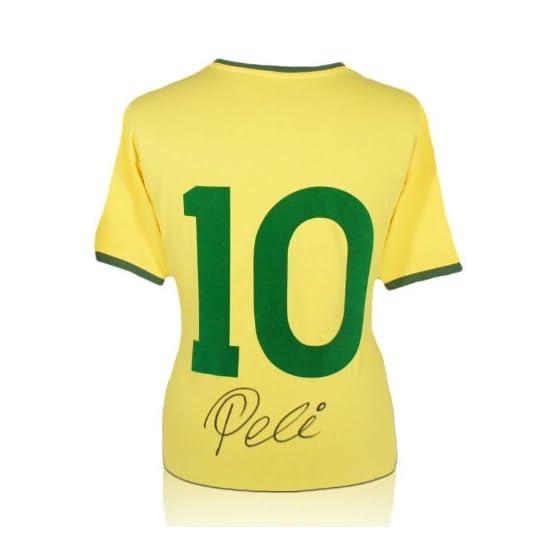 Pele numéro 10 du Brésil de football maillot signé au dos